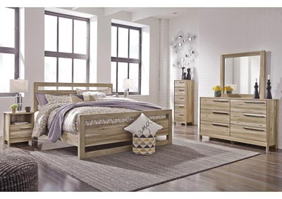 Kianni Taupe King Panel Bed w/Dresser and Mirror