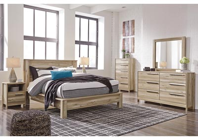 Kianni Taupe Queen Platform Bed w/Dresser and Mirror