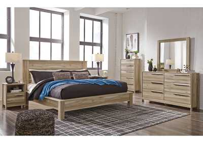Kianni Taupe King Platform Bed w/Dresser and Mirror