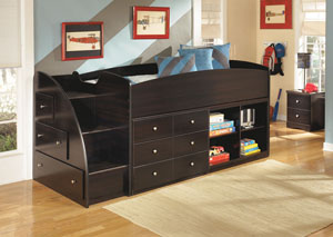 Embrace Twin Loft Bed w/Bookcase, Storage & Stairs