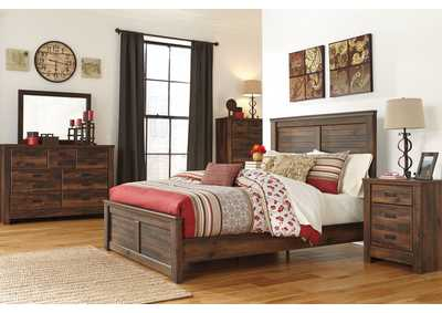 Quinden Queen Panel Bed w/Dresser, Mirror & Drawer Chest