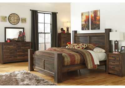 Quinden King Poster Bed w/Dresser, Mirror, Drawer Chest & Nightstand