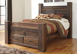 Quinden Dark Brown Queen Storage Poster Bed