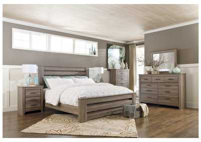 Image for Zelen Warm Gray Full Panel Bed and Dresser w/Mirror