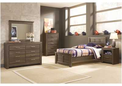 Juararo Twin Panel Bed, Youth Dresser, Mirror, Chest & One Drawer Night Stand