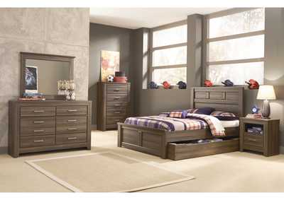 Juararo Full Panel Storage Bed w/Dresser, Mirror, Chest & 1 Drawer Nightstand