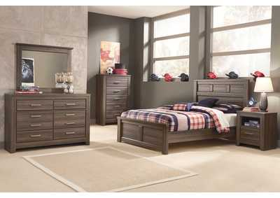 Juararo Full Panel Bed w/Dresser, Mirror, Chest & 1 Drawer Nightstand