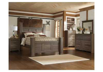 Juararo California King Poster Bed, Dresser, Mirror, Chest & Night Stand
