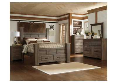 Juararo California King Poster Storage Bed w/Dresser, Mirror, Drawer Chest & Nightstand