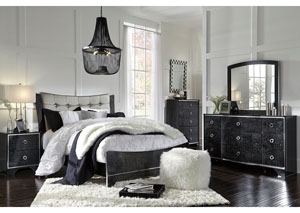 Amrothi Black King Upholstered Panel Bed w/Dresser, Mirror & Drawer Chest