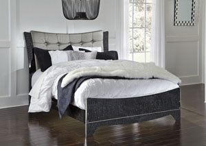 Amrothi Black Queen Upholstered Panel Bed