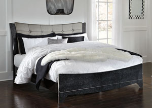 Amrothi Black King Upholstered Panel Bed