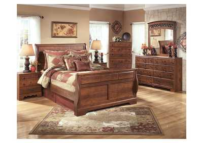 Timberline Queen Sleigh Bed w/Dresser, Mirror, Drawer Chest & Nightstand