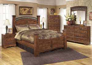 Timberline Queen Poster Bed w/Dresser, Mirror & Drawer Chest