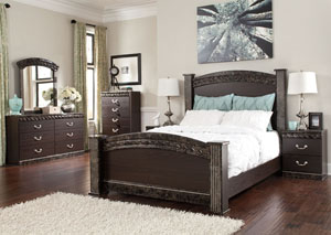 Vachel Queen Poster Bed, Dresser, Mirror, Chest & Night Stand