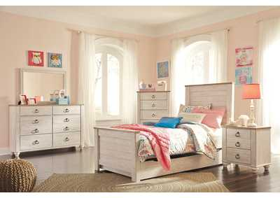 Willowton Whitewash Twin Panel Storage Bed w/Dresser & Mirror