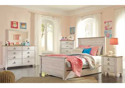 Willowton Whitewash Full Panel Storage Bed w/Dresser & Mirror