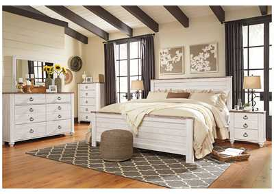 Willowton Whitewash King Panel Bed w/Dresser, Mirror & Drawer Chest
