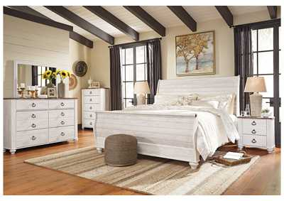 Willowton Whitewash King Sleigh Bed w/Dresser, Mirror, Drawer Chest & Nightstand