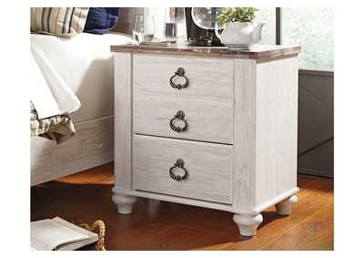Willowton Whitewash Two Drawer Nightstand,Direct To Consumer Express
