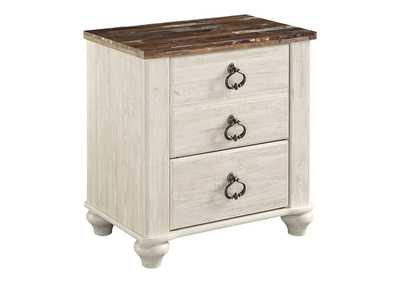 Willowton Whitewash Two Drawer Night Stand