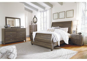 Birmington Brown Queen Sleigh Bed w/Dresser, Mirror, Drawer Chest & Nightstand