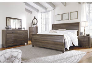 Birmington Brown King Sleigh Bed w/Dresser, Mirror, Drawer Chest & Nightstand
