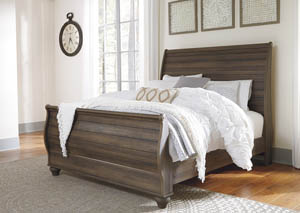 Birmington Brown Queen Sleigh Bed
