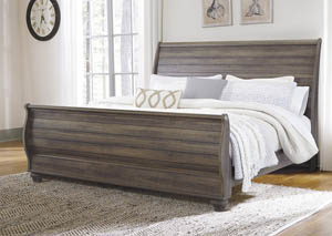 Birmington Brown King Sleigh Bed