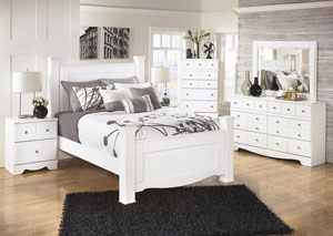 Weeki Queen Poster Bed w/Dresser, Mirror & Drawer Chest
