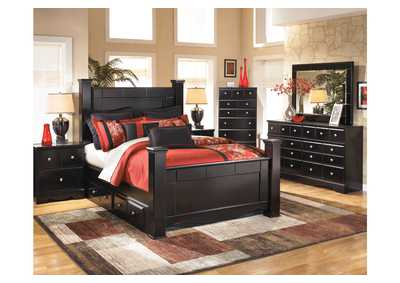 Shay King Poster Storage Bed w/Dresser & Mirror