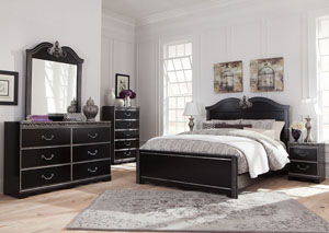 Navoni Black Queen Panel Bed w/Dresser & Mirror