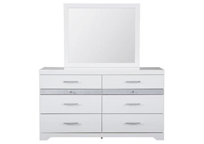 Jallory White Dresser and Mirror