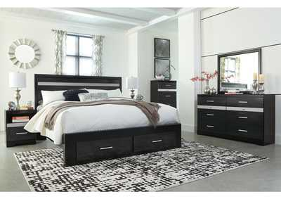 Starberry Black King Storage Bed and Dresser w/Mirror