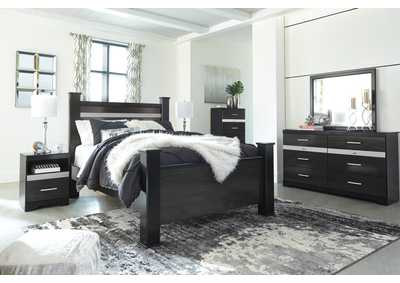 Starberry Black Queen Poster Bed and Dresser w/Mirror