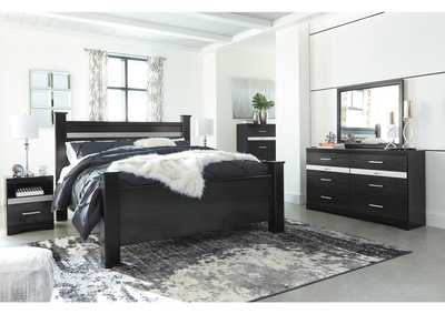 Starberry Black King Poster Bed and Dresser w/Mirror
