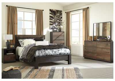 Windlore Dark Brown Queen Panel Bed w/Dresser, Mirror, Chest & Nightstand
