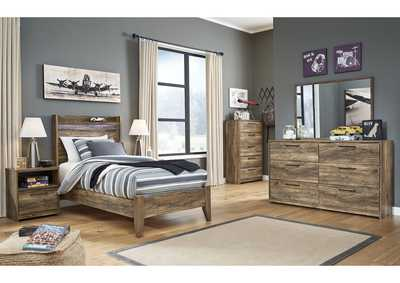 Rusthaven Brown Twin Panel Bed w/Dresser and Mirror