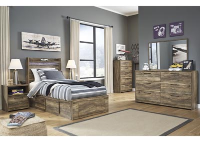 Rusthaven Brown Storage Twin Bed w/Dresser and Mirror