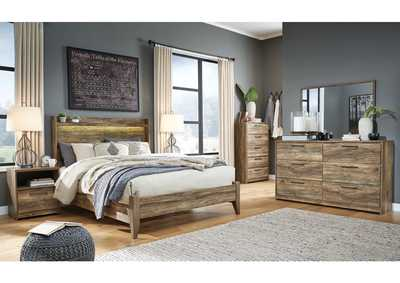 Rusthaven Brown Queen Panel Bed w/Dresser and Mirror
