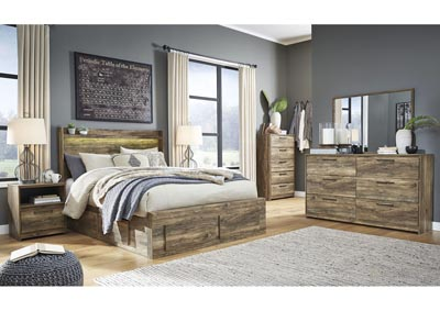 Image for Rusthaven Brown Storage Queen Bed w/Dresser and Mirror