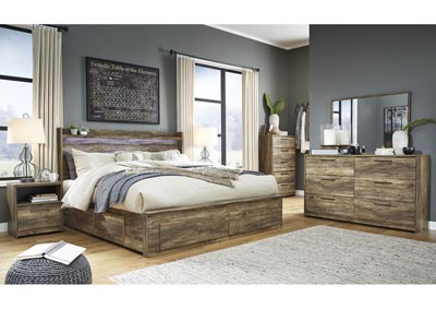 Rusthaven Brown Storage King Bed w/Dresser and Mirror