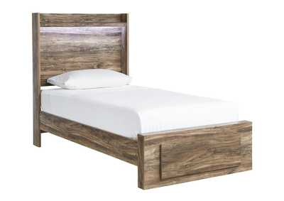 Rusthaven Brown Storage Footboard Twin Bed