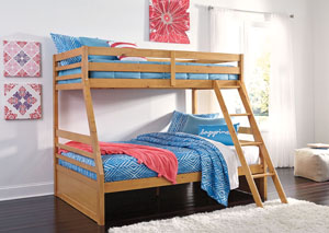 Hallytown Light Brown Twin/Full Bunkbed