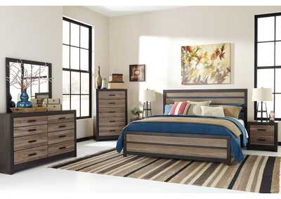 Harlinton Queen Panel Bed w/Dresser, Mirror & Drawer Chest