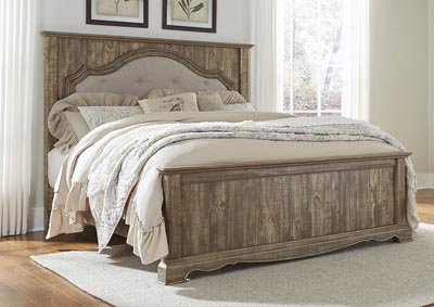 Shellington Caramel King Upholstered Mansion Bed