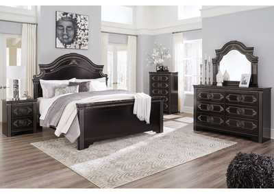 Banalski Brown King Panel Bed w/Dresser and Mirror