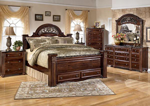 Gabriela King Poster Bed w/ Storage, Dresser, Mirror, Chest & Night Stand