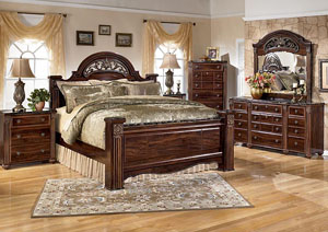 Gabriela King Poster Bed, Dresser, Mirror, Chest & Night Stand