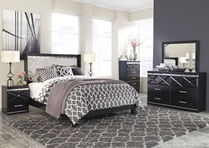 Fancee Queen Panel Bed w/Dresser, Mirror, Drawer Chest & Nightstand